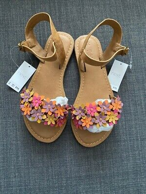 Girls Brand New With Tags Next Tan With Flowers Sandals UK Size 12 RRP £15 • 9.99£