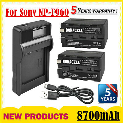 AU41.99 • Buy 2X 8700mAh NP-F960 Battery + LCD Charger Replace For Sony NP-F970 NP-F950 CCD-TR