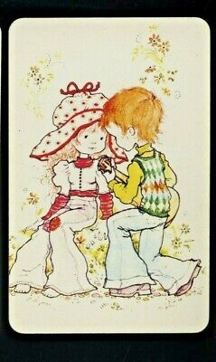 AU3 • Buy One Sarah Kay Blank Back Swap Card Girl And Boy Seated In Retro Clothes & Guitar