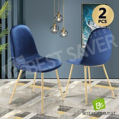 AU89.75 • Buy 2x Dining Chairs Fabric Velvet Kitchen Cafe Modern Metal Legs Seat Armchair Blue