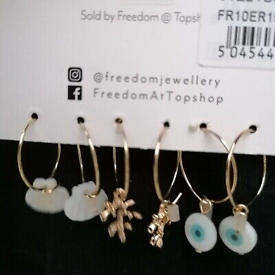 Freedom At Topshop Three Hoop Earring Pack With Real Shell • 5£