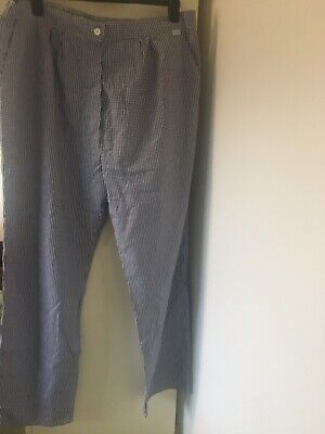 Ladies  Chef Blue Check Chef Trousers Size 24 New • 0.99£