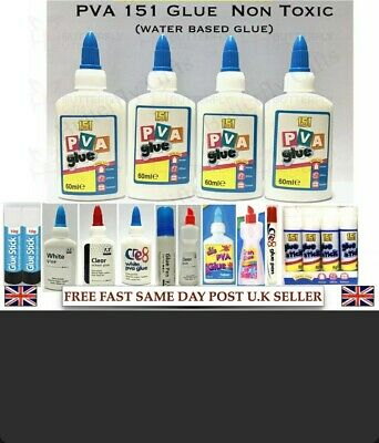 2x PVA Glue Bottles Washable Safe Glue Ideal School Craft Home Office NON Toxic • 3.99£