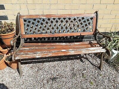 Cast/wrought Iron And Wood Garden Patio Bench Furniture Chair • 25£
