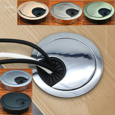 Desk Metal Grommet Table Cable Tidy Wire Hole Cover Chrome Brush 50/60/80cm • 3.39£