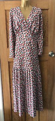 AU41.40 • Buy NEW ASOS Curve Floral Maxi Dress Size 16 Long Sleeves Red Ditsy Vintage Look