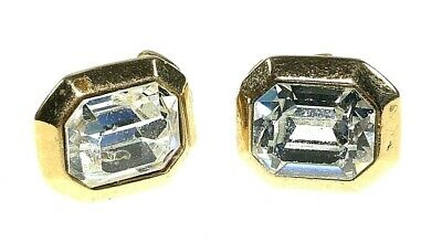 COSTUME JEWELLERY -  Vintage Gold Plated Foil Backed Paste Ear-Clips - 1960s • 4.99£