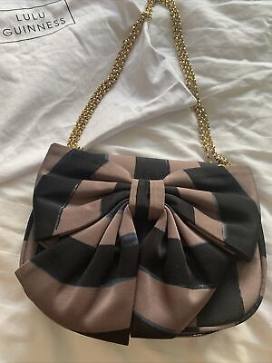 £44 • Buy Rare Lulu Guinness Annabelle Striped Bow Chain Strap Shoulder Bag Used Once