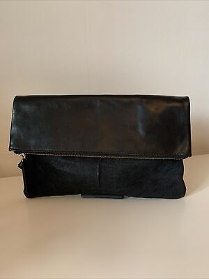 "AU18.03 • Buy John Lewis And/Or Fold Over Leather & Suede Clutch Bag ""Madi"" Black"
