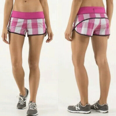 $ CDN19.37 • Buy Lululemon Speed Shorts Sz 6 Lined 2.5  Inseam Pink Plaid EUC