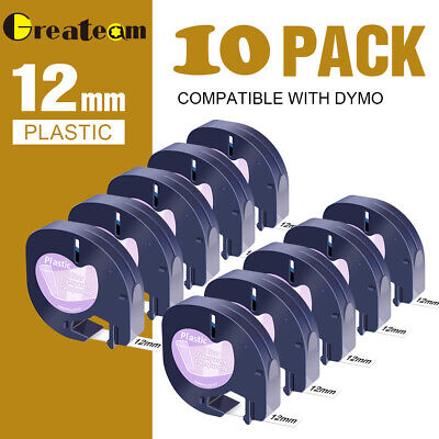AU27.64 • Buy 10PK 16952 12267 Plastic Tape Compatible DYMO Letratag Label Maker 12mm LT-100H