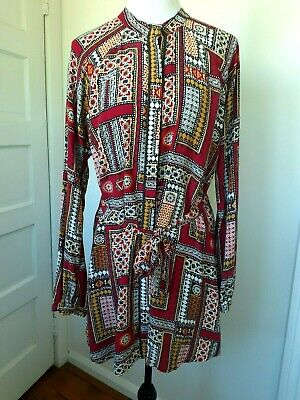AU29 • Buy TIGERLILY Long Sleeve Multicolour Button Through Rayon Dress. Size 14