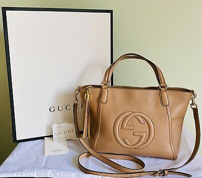 AU1050 • Buy Authentic GUCCI Soho Cellarius 2 Way Brown Leather Tote Shoulder Bag