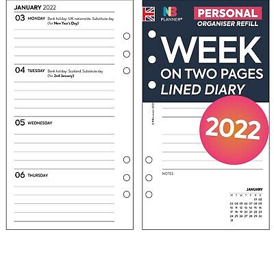 £5.98 • Buy 2022 Filofax Personal COMPATIBLE Week On Two Pages Lined Diary Refill Insert