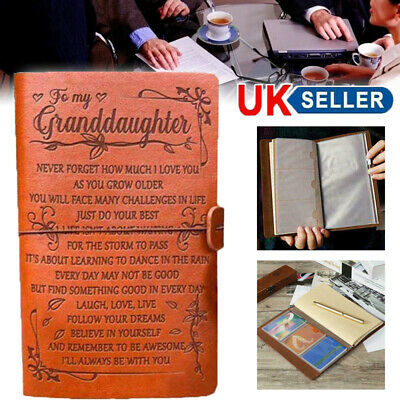 £6.77 • Buy A6 To My Granddaughter Engraved Leather Journal Notebook Diary Gift Travel Craft