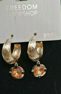 Topshop Hoop Earrings In Gold Tone With Faux Topaz Square Drop • 7£