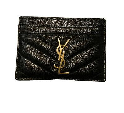 AU229 • Buy YSL Yves Saint Laurent - Monogram Card Case In Grain De Poudre Embossed Leather