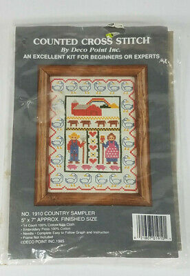 NIP Deco Point Country Sampler No. 1910 Counted Cross Stitch Kit Open Package • 2.90£