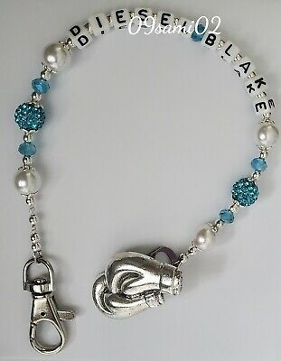 £7 • Buy Personalised Boys ❤ Bling Dummy Clip, Pearl & Crystal ❤romany❤boxing Gloves