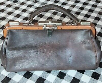 Genuine Vintage Leather Small Gladstone Doctors Bag 30 X 16 X 10cm. VG Condition • 35.99£