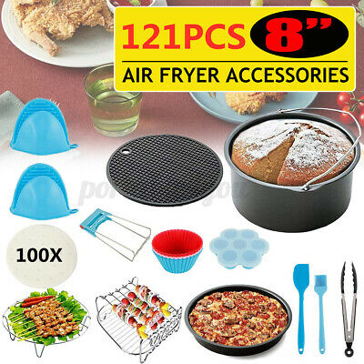 AU31.99 • Buy 118-127Pcs 8inch Air Fryer  Cage Dish Baking Pan Accessories Rack Pizza Tray Pot