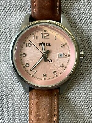 $ CDN2.25 • Buy Fossil Women's AM-4376 Quartz 34mm Watch Pink Dial Brown Leather Band