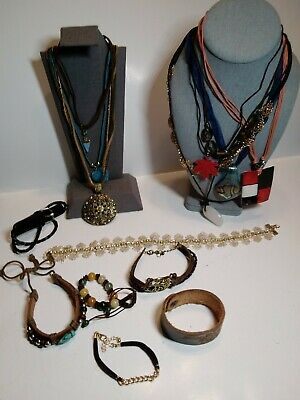 $ CDN12.53 • Buy Boho Handmade Leather/GlassJEWELRY LOT 16Pc Necklaces, Bracelets Lia Sophia