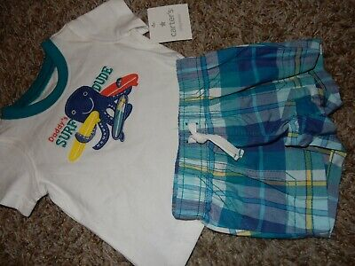 $22.99 • Buy NWT 3M 0-3M CARTER'S Daddy's Surf Dude Octopus Plaid Shirt & Shorts Outfit Set