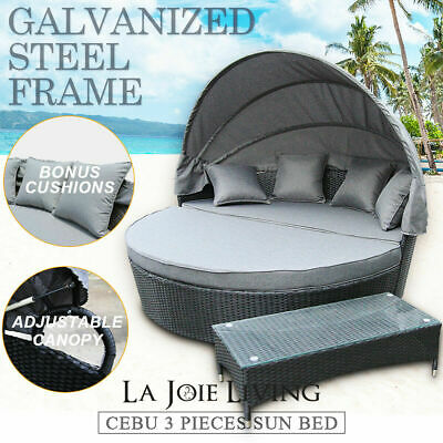 AU939 • Buy Outdoor Furniture PE Day Bed Sun Lounge Wicker Rattan Canopy Set Glass Top