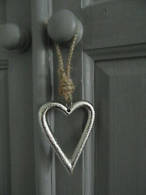£4.99 • Buy Silver Hanging Metal Heart Shabby Chic