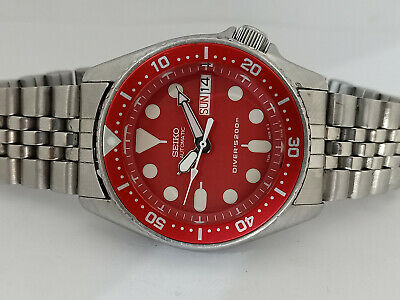 $ CDN90.87 • Buy Lovely Red Modded Seiko 7s26-0030 Skx013 Automatic Mens Watch Sn 350136