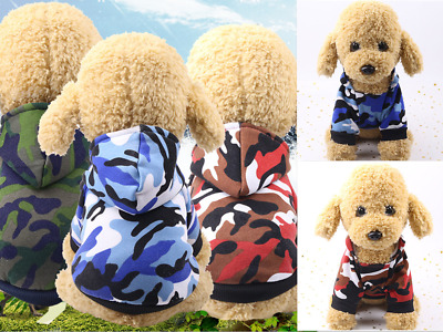 £2.99 • Buy Small Pet Dog Hoodie Sweater Jumper Coat Warm Camouflage Clothes Puppy Apparel
