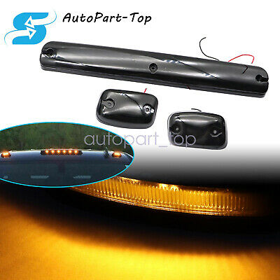 $62.39 • Buy For 1993-2021 Chevy GMC 2500HD 3500HD 3Pcs Amber LED Cab Roof Marker Top Lights