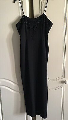 £10 • Buy Principles Black Crepe Beaded Strappy Long Evening Occasion Dress 12