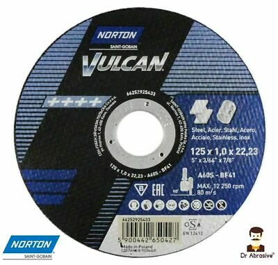 AU23.35 • Buy 125mm 5 Inch QUALITY NORTON Vulcan Cutting Grinding Discs Steel Metal PACK OF 10