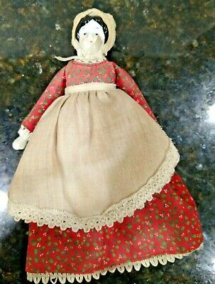 $ CDN18.79 • Buy Vintage Porcelain Doll In Cranston Print Works Red Dress And Bonnet