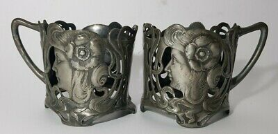 $ CDN162.44 • Buy Pair Of Wmf Silver Plated Art Nouveau Maiden Cup Glass Holders 2.6