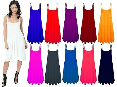 £5.99 • Buy Women Ladies Long Cami Swing Dress Camisole Skater Flared Vest Top Plus Uk 8-26