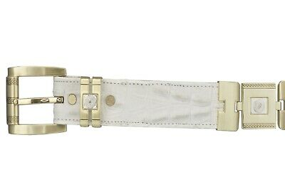 $44.99 • Buy Mens Cowboy Belt White Crocodile Tail Print Leather Gold Links Rodeo Dress