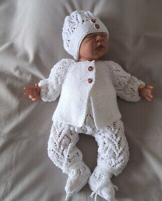 AU42 • Buy  Hand Knitted Baby Clothes Set Outfit Layette  0 - 3 Months Or Reborn Doll