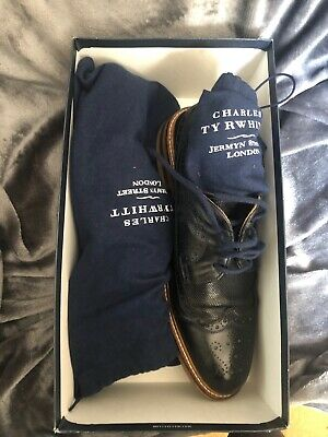 £35 • Buy Charles Tyrwhitt Navy Eastcott Derby Wing Tip Leather Lace Up Shoes Uk 10