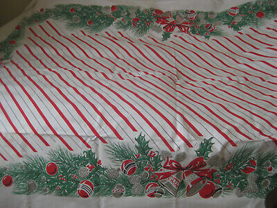 $ CDN145.58 • Buy RARE VINTAGE 1950S  CHRISTMAS TABLECLOTH RED STRIPES BELLS BOWS 82 X60