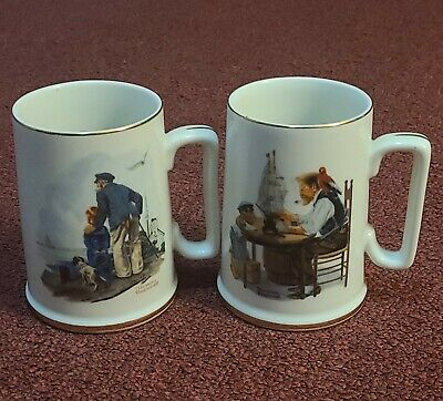 $ CDN26.98 • Buy NORMAN ROCKWELL Looking Out To Sea & For A Good Boy Porcelain Mugs Cups Lot Of 2