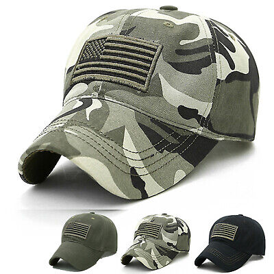 £6.74 • Buy Mens Military Army Camouflage Baseball Cap USA Flag Tactical Combat Snapback Hat