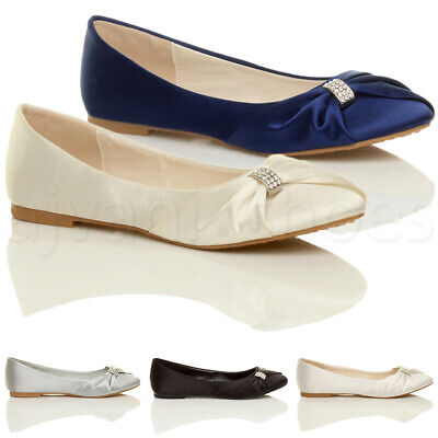 £9.99 • Buy Womens Ladies Wedding Bridal Evening Ballerina Ballet Flats Dolly Shoes Size