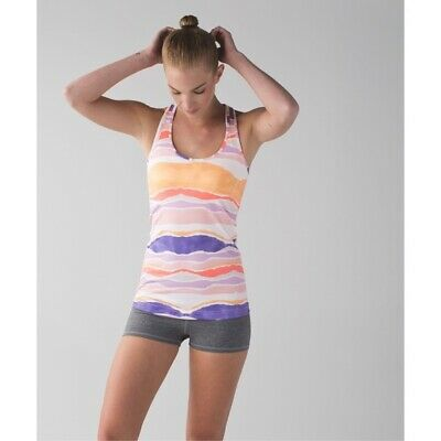 $ CDN17.48 • Buy Lululemon Cool Racerback Tank Top Bleacher Stripe Orange Purple 4 S