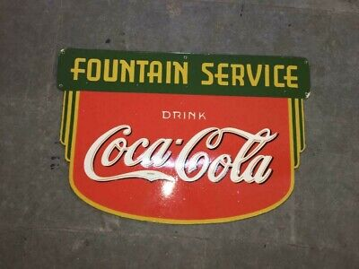 $ CDN33.74 • Buy Porcelain Coca Cola Fountain Service Enamel Sign 36 X 24  Inches Double Sided