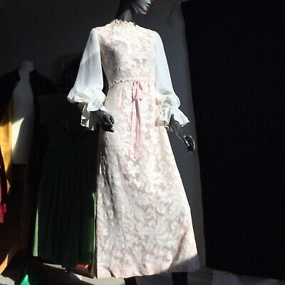 £60 • Buy Lace Simon Ellis Mod Victorian Big Sleeves Dress With Pink Lining Ruffles Maxi