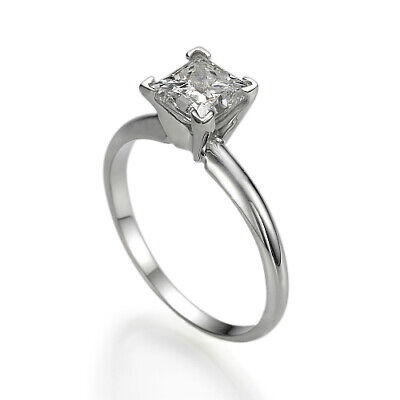 $675.35 • Buy Solitaire Princess Cut Genuine 0.5 Carat Diamond 14k White Gold Engagement Ring