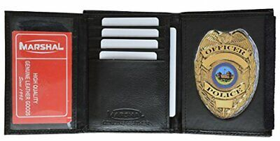 £17.26 • Buy Leather Wallet Badge Holder Sheriff Officer ID Police Shield Security Black Case